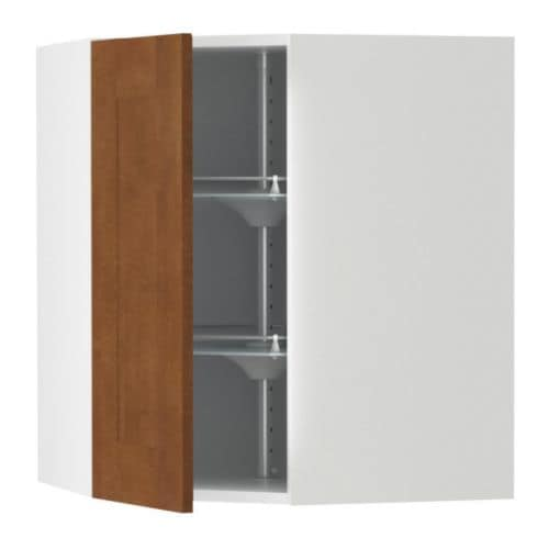 AKURUM Corner wall cabinet with carousel IKEA 2 swivel shelves; maximize the use of the corner space and make the contents easy to view and reach.