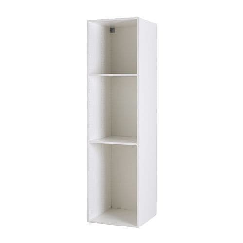 "AKURUM High cabinet frame IKEA 2 reinforced shelves are included for higher stability.  Sturdy frame construction, 3/4"" thick."
