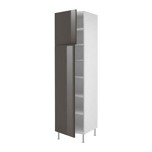 AKURUM High cabinet with shelves/2 doors IKEA Adjustable shelf; adapt spacing to your own storage needs.