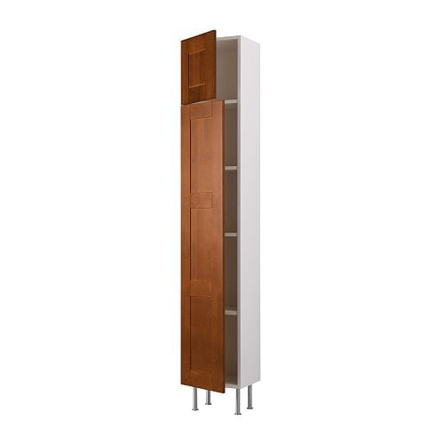 AKURUM High cabinet with shelves/2 doors IKEA You can customize spacing as needed, because the shelf is adjustable.
