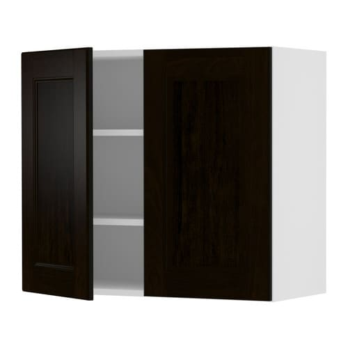 "AKURUM Wall cabinet with 2 doors IKEA Adjustable shelf; adapt spacing to your own storage needs.  Sturdy frame construction, 3/4"" thick."