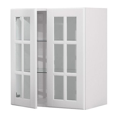 AKURUM Wall cabinet with 2 glass doors IKEA You can customize spacing as needed, because the shelf is adjustable.