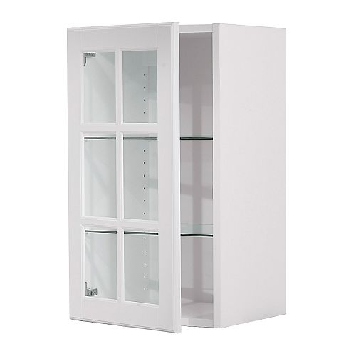 AKURUM Wall cabinet with glass door, birch, Lidingö white Width: 14 7/8