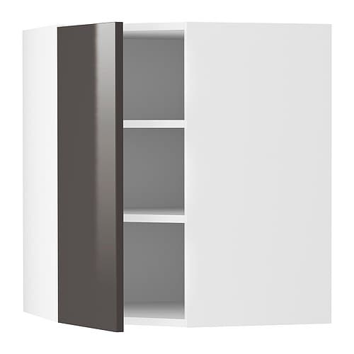 AKURUM Wall corner cabinet IKEA Adjustable shelf; adapt spacing to your own storage needs.  The door can be mounted to open from the left or right.