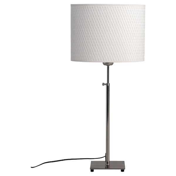 ALÄNG Table lamp with LED bulb, nickel plated/white