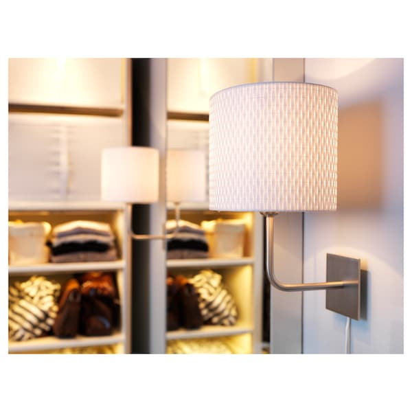 """ALÄNG wall lamp with LED bulb nickel plated/white 40 W 10 """" 9 """" 13 """" 6 ' 11 """""""