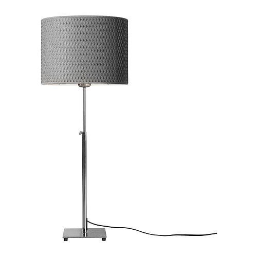 ALÄNG Table lamp with LED bulb, nickel plated, gray
