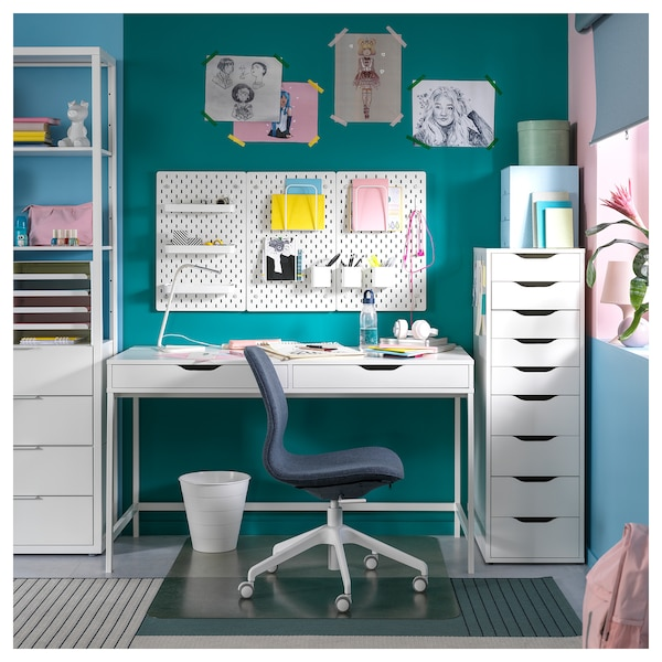 """ALEX Desk, white, 51 5/8x23 5/8 """""""