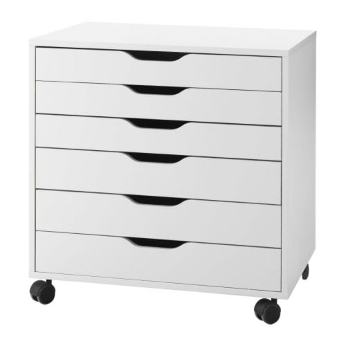 ALEX Drawer unit on casters IKEA Drawer stops prevent the drawer from being pulled out too far.