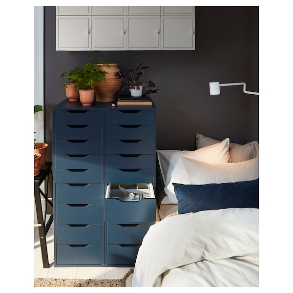 """ALEX Drawer unit with 9 drawers, blue, 14 1/8x45 5/8 """""""