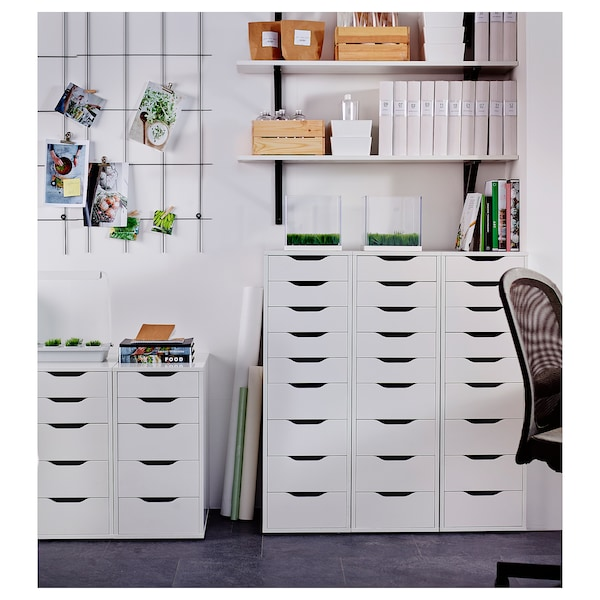 """ALEX Drawer unit with 9 drawers, white, 14 1/8x45 5/8 """""""