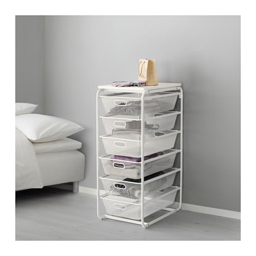 Algot frame with 6 mesh baskets top shelf ikea for Frame storage system