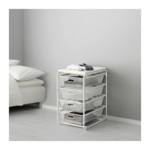 ALGOT Frame with 4 mesh baskets/top shelf, white