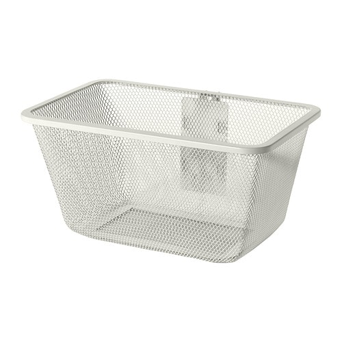 ALGOT Mesh basket with bracket IKEA Just click in on ALGOT wall upright – no tools needed.