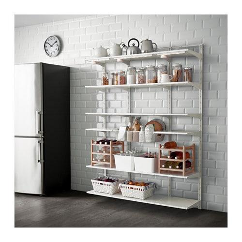ALGOT Wall upright, shelf and basket, white