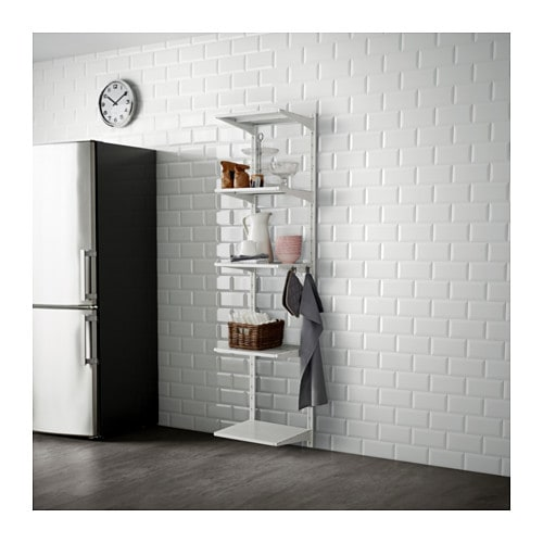 ALGOT Wall upright, shelf and hook, metal white
