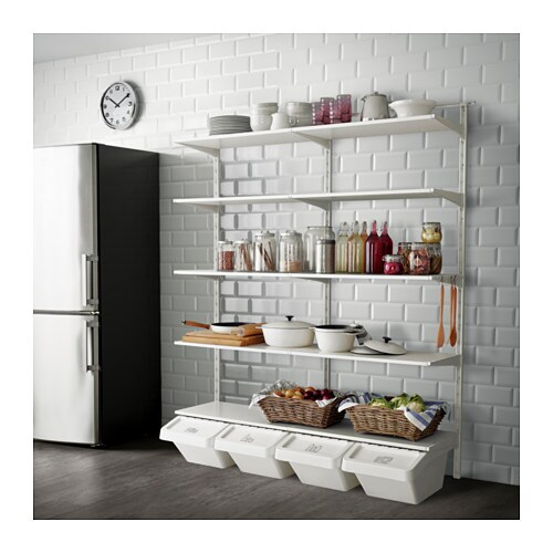 Ikea Kitchen Island Pictures ~   Open clothes & shoe storage system  ALGOT system Wall mounted storage