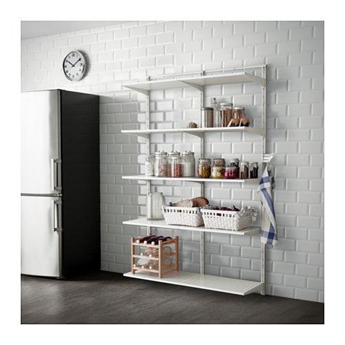 ALGOT Wall upright, shelf and triple hook, white