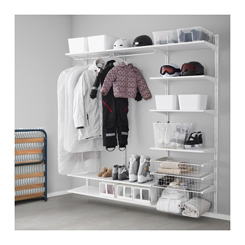Ikea Island With Raised Breakfast Bar ~   Open clothes & shoe storage system  ALGOT system Wall mounted storage