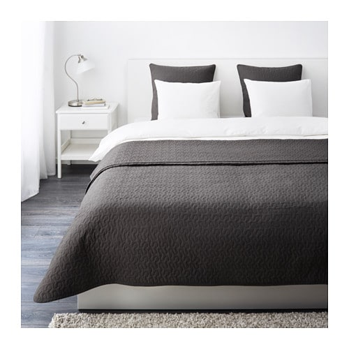 ALINA Bedspread and 2 cushion covers, dark gray dark gray Queen/King