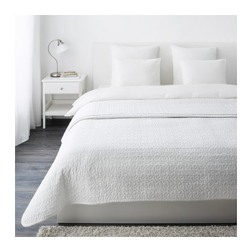 ALINA Bedspread and 2 cushion covers, white white Queen/King