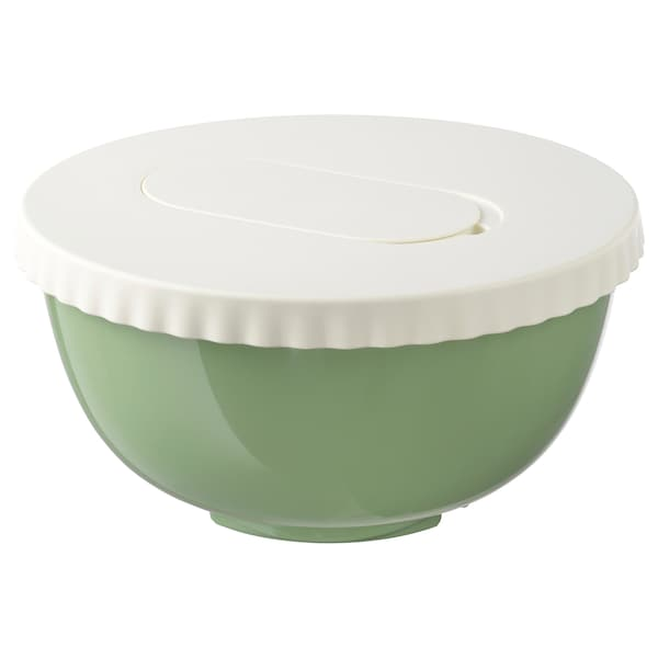 ALLEHANDA Mixing bowl with lid, green, 4 qt