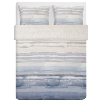 ALPDRABA Duvet cover and pillowcase(s), blue/stripe, Full/Queen (Double/Queen)