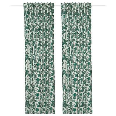 "ALPKLÖVER Curtains, 1 pair, white/dark green, 57x98 """