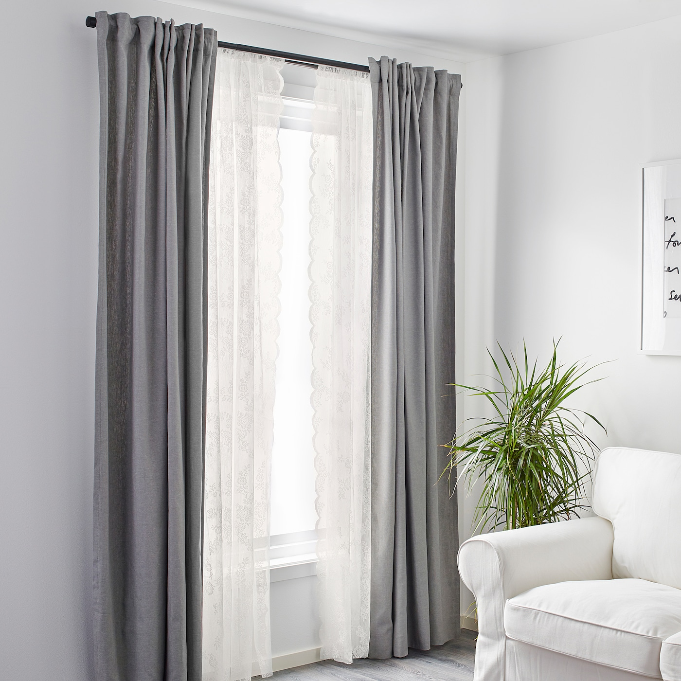 Alvine Spets Lace Curtains 1 Pair Off White Ikea