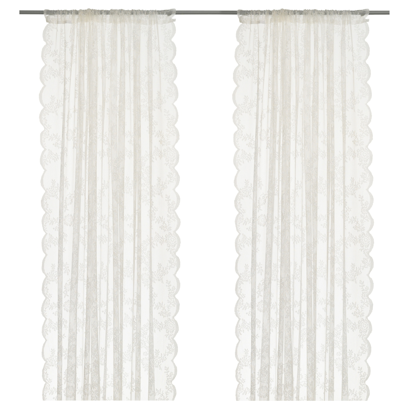 ALVINE SPETS Lace curtains, 1 pair - off-white - IKEA