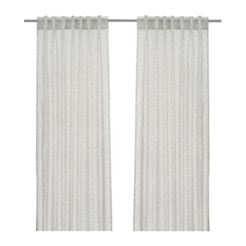 "ALVINE TRÅD Pair of curtains, white, gray Length: 98 "" Width: 57 "" Weight: 1 lb 12 oz  Length: 250 cm Width: 145 cm Weight: 0.80 kg"