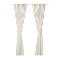 AMILDE curtains with tie-backs, 1 pair, white