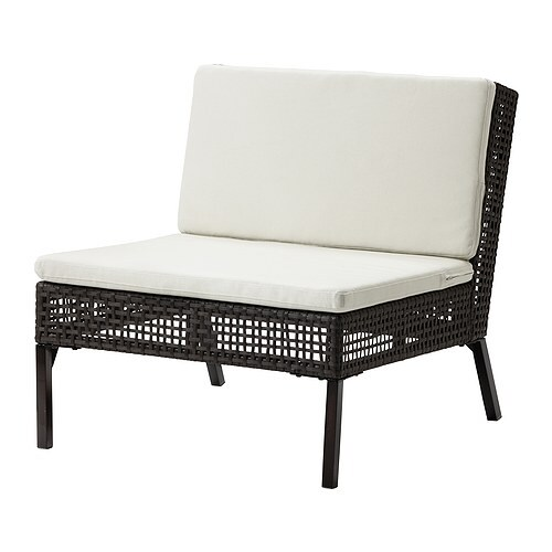 AMMERÖ One seat section with pad IKEA Hand-woven plastic rattan is weather-resistant and easy to care for.