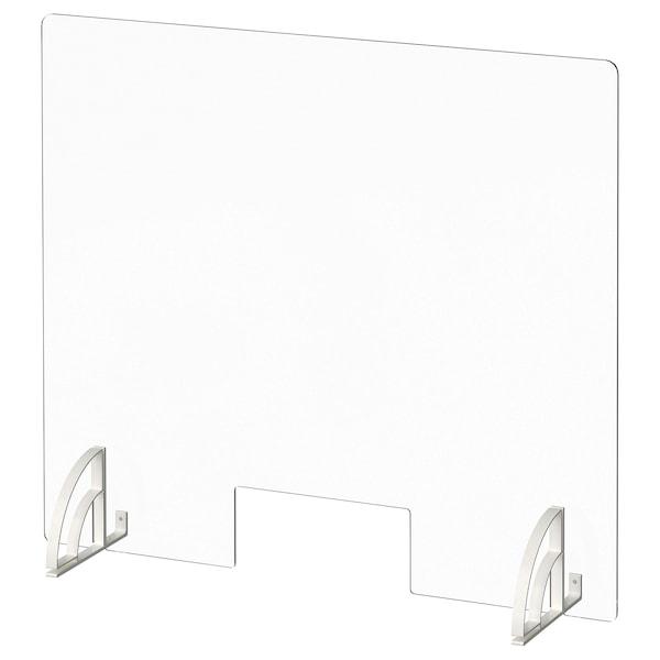 "ANFALLSZON Screen for desk, clear/white, 30x26 """
