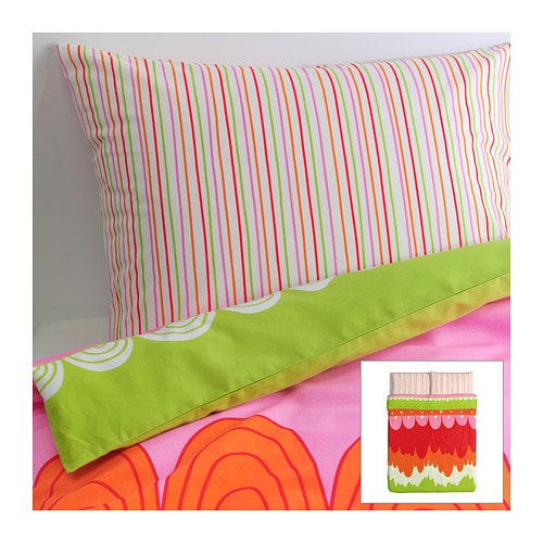 ÄNGSKRASSE Duvet cover and pillowcase(s) , multicolor Duvet cover length: 86