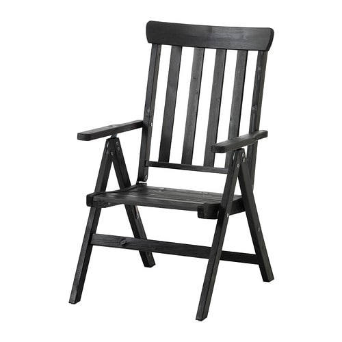 ÄNGSÖ Reclining chair outdoor foldable black brown stained IKEA