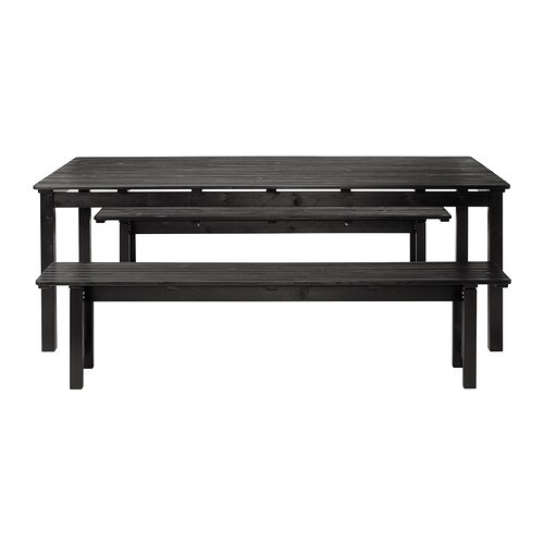 Ngs Table 2 Benches Outdoor Black Stained Ikea