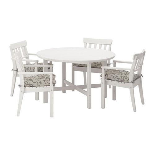 Ngs Table And 4 Armchairs Outdoor Ngs White Stained Steg N Beige Ikea