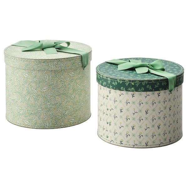 ANILINARE box, set of 2 round/green floral patterned