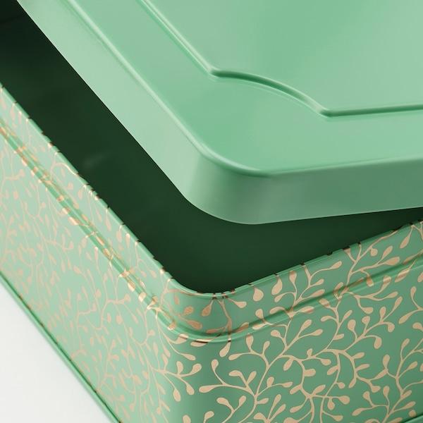 ANILINARE decorative box, set of 2 green gold/metal