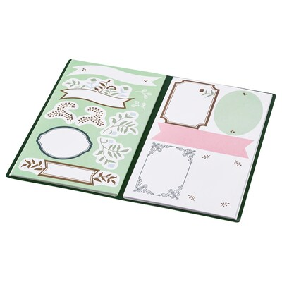 """ANILINARE folder with stickers green beige/floral patterned 4 ¼ """" 7 """""""