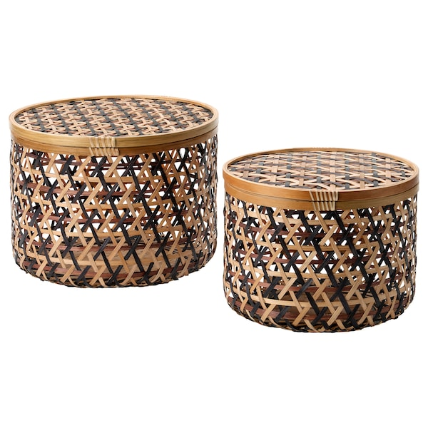 ANILINARE Storage box with lid, set of 2, bamboo black/brown
