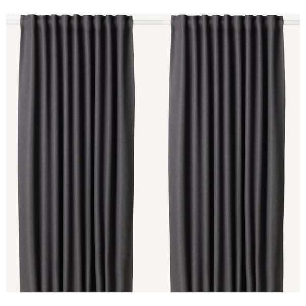 """ANNAKAJSA Room darkening curtains, 1 pair, gray, 57x98 """""""