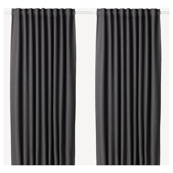 """ANNAKAJSA room darkening curtains, 1 pair gray 98 """" 57 """" 7 lb 10 oz 39.07 sq feet 2 pack"""
