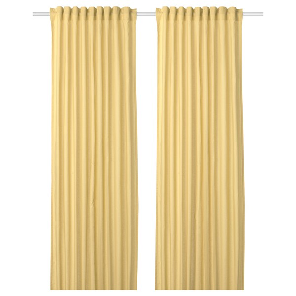 ANNALOUISA Curtains, 1 pair, light yellow, 57x98 ""
