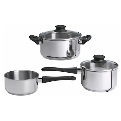 ANNONS 5-piece cookware set, glass/stainless steel