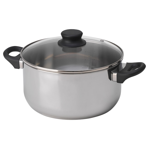 ANNONS Pot with lid, glass/stainless steel, 5.3 qt