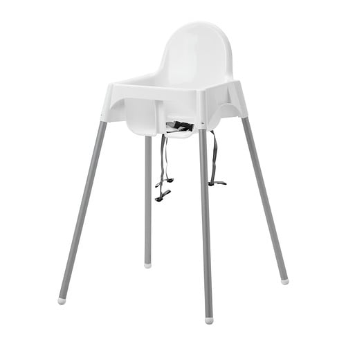ANTILOP High chair with safety belt, white, silver color white/silver color -