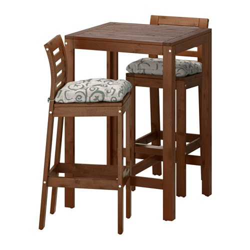 pplar bar table and 2 bar stools pplar brown stained steg n beige ikea. Black Bedroom Furniture Sets. Home Design Ideas