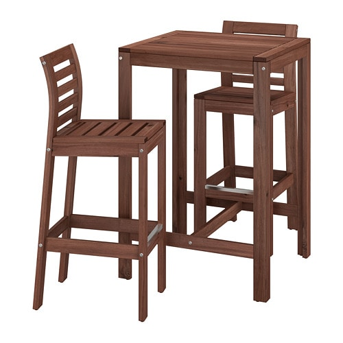Beau ÄPPLARÖ   Bar Table And 2 Bar Stools, Brown Stained Brown